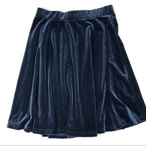 GLAMOROUS Velvet Mini Skirt Navy Blue Flared Small